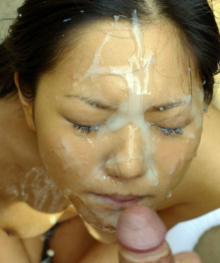 Cum covered asian whore bukkake pics