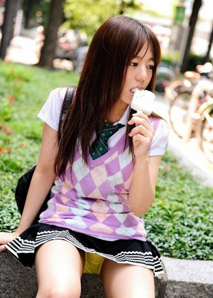 Adorable asian teens in school uniform..